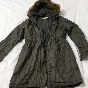 Michael Kors Green Jacket Size Small Faux Fur Hood